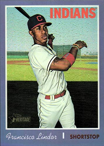 2019 Topps Heritage CHROME - Francisco Lindor - PURPLE REFRACTOR Parallel - SP SHORT PRINT - Cleveland Indians Baseball Card #THC401