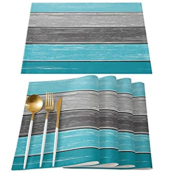 Home L6 Placemats for Dining Table Retro Wooden Board Cotton and Linen Table Mats Vintage Ombre Teal Green Wood Grain Heat Resistant Non-Slip Washable Tablemats Set of 6