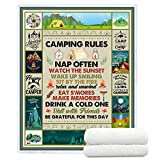 YunTu Camping Blankets Super Soft and Warm Camping Rules for Camper Blankets for Bed and Couch Camping Throw Blanket for Women and Men Gifts for Camping Lovers