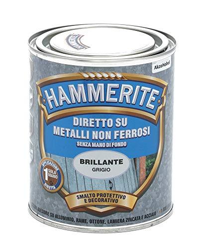 Hammerite Diretto Metalli non Ferrosi Brillante Grigio 0.75 L