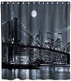 JOOCAR Design Duschvorhang, London Bridge Urban Global Culture City Themes Grau & Schwarz, wasserdichter Stoff Stoff Badezimmer Dekor Set mit Haken