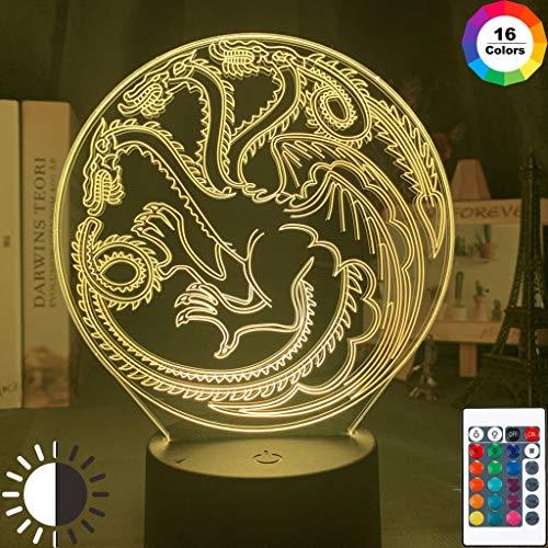 Spiel TV Drama Thrones Haus Targaryen Familie Embleme Cooles Nachtlicht 3D LED Tischlampe Kinder Geburtstagsgeschenk Nachtzimmer Dekoration