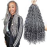 6Pcs/Lot 18 Inch Goddess Locs Crochet Hair with Curly Ends Deep Curly Crochet Twist Grey Hair Synthetic Braiding Hair Extensions (Goddess1B#/gray-US)