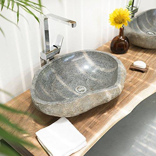 wohnfreuden Naturstein oval ca 60 cm groß Unikatauswahl nach dem Kauf Steinwaschbecken Fotogalerie