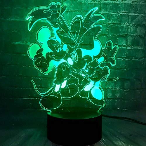 3D Lumière De Nuit Souris De Dessin Animé Minnie Mignon Led 7 Couleur Usb Lampe De Table De Couchage Bébé Lampe Mode Noël Décor Cadeaux Enfants Cadeau D'Anniversaire Jouet Décoration Lampe