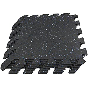 """RevTime Interlocking Rubber Exercise Mats 20""""x20""""x1/4"""" (6mm) Puzzle Gym Mat for Treadmill Mat Gym Floor Mat Exercise Mat Fitness Floor (6 Packs with 10 Edge)"""