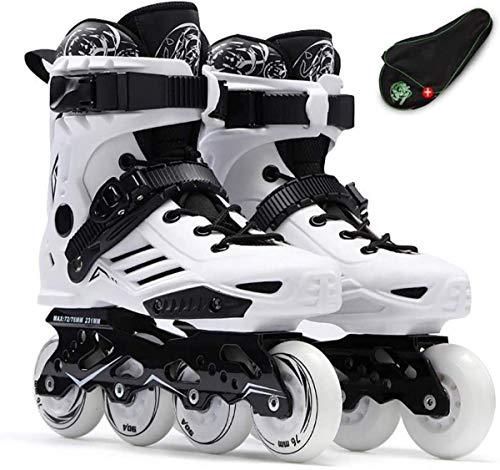 Patines en línea ajustables, para niñas y niños, patines de patinaje de velocidad profesional de fibra de carbono, deportes principiantes al aire libre recreación-blanco| EU 43/US 10/UK 9/JP 26.5cm