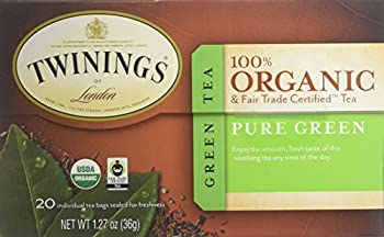 Twinings of London Organic and Fair Trade Certified Pure Green Tea Bags 20 Count