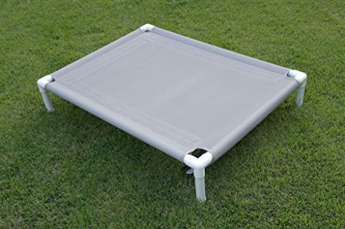 Dianes K9 Creations Inc. Medium Elevated Dog Bed, Camping Dog Bed, Mesh Raised Bed, Dog Hammock, Grey Mesh Cot Size 28'x40'x8