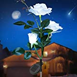 Solar Garden Stake Lights, Waterproof Solar Rose Lights Outdoor Decorative Rose Flowers LED Lights with 3 Roses for Garden Landscape Lawn Yard Courtyard Patio Backyard Decorations