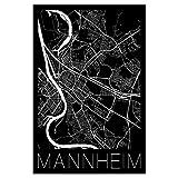 artboxONE Poster 30x20 cm Städte Retro Map Mannheim