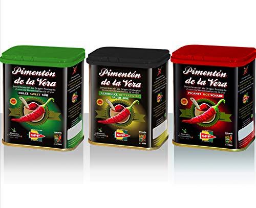 Pimentón de la Vera Ahumado en Lata, Pack 3x75g ( Dulce, Agridulce y Picante ). Producto con la Denominación de Origen Protegida D.O.P. Condimento Apto para Celíacos.