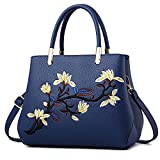 DIRRONA Elegante Bolso de Hombro Bolsos de Mujer Casual Bolso Bandolera Vacaciones Compras Grandes Cuero PU Bolsa de Hombro Flores Bordadas Bolso Azul