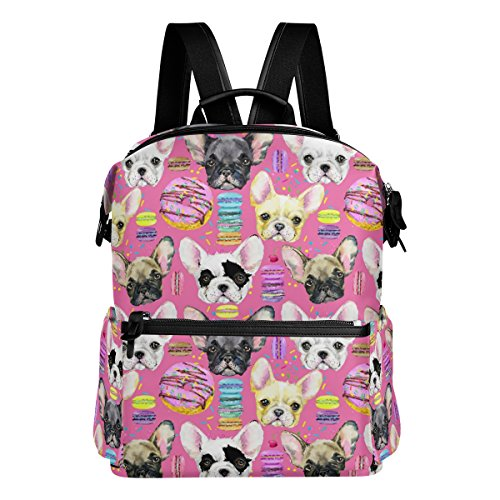 Cute French Bulldog and Macaron Lightweight WaterproofPolyester Large CapacityBackpack Campus Backpack TravelDaypack Pink