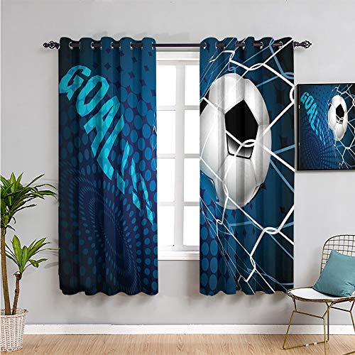 soccer Blackout Curtain, Curtains 84 inch length goal football flying into net abstract dots pattern background european sport Bathroom curtain blue black white W84 x L84 Inch