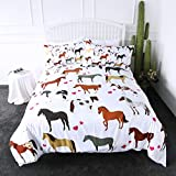 ARIGHTEX Horse Bedding Kids Girls Pretty Ponies Duvet Cover 3 Pieces Cartoon Farm Animals Red Heart Bed Set (Queen)