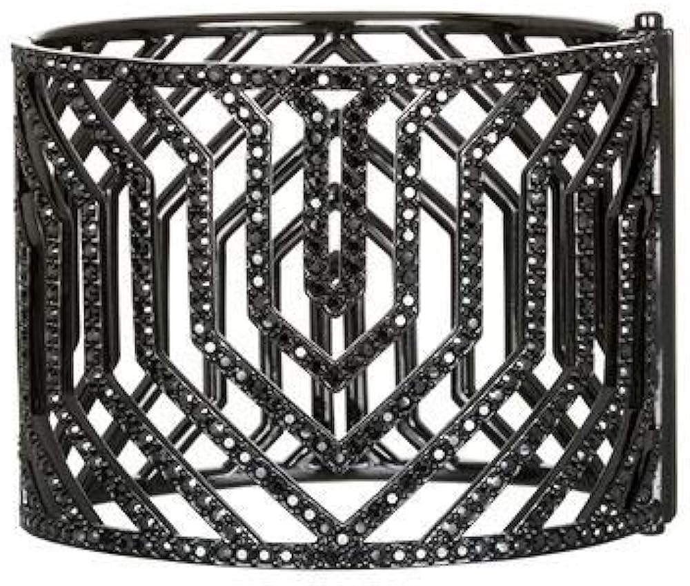 Karl lagerfeld bracciale gunmetal per donna, con ematite nere e cristalli swarovski, essentials 5448400