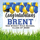 Congratulations Class of 2020 Graduate Personalized Yard Sign with Metal Stake, Blue and Yellow Custom Graduation Party Personalized Lawn Sign