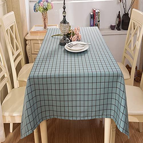 LIUJIU Mantel sencillo moderno de rayas y borlas, de algodón y lino, elegante, lavable, para mesa de comedor, 130 x 180 cm