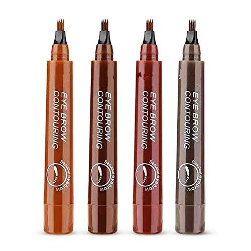 Stylo à sourcils 4 points, stylo à sourcils de tatouage naturel, ensemble de stylos à sourcils, stylo à sourcils résistant aux taches et imperméable, aspect naturel 4 couleurs