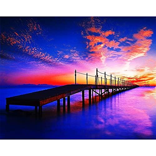 5D DIY diamante pintura paisaje muelle puente puesta de sol junto al mar diamante punto de cruz conjunto mosaico arte imagen A7 50x70cm