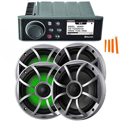 """FUSION MS-RA70 Marine AM/FM/BT Stereo with 2 Pair Wet Sounds RECON6-S-RGB High Output 6.5"""" RGB Lighting Marine Coaxial Speakers, Silver Grill"""