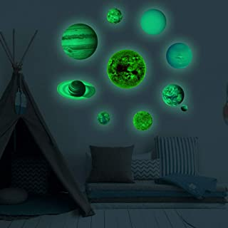 Dolloress Glow in The Dark Planets,Solar System Wall Stickers 10pcs Including Sun Moon Planets Dwarf Planets etc for Home ...
