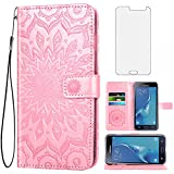 Compatible with Samsung Galaxy J7 Case (2015 Version),J7 Neo Wallet Case,SM-J700 Phone Cases with Tempered Glass Screen Protector Leather Slim Flip Cover Card Holder Stand Accessories Women Rose Gold