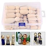 50 Stück DIY Holzfiguren Puppen DIY Holz-Puppen Holzfiguren Familie Figuren Unfertige Puppe...