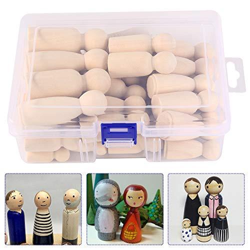 50 Stück Holzfiguren Puppen DIY Holz-Puppen Figuren Holzfiguren Familie Unfertige Puppe Hölzerne Puppe Mann Frau Junge Mädchen Kinder Krippenfiguren zum Bemalen BastelnHolz Holzfiguren Deko