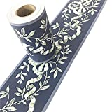 Taamall Simplemuji 10 Meters Self-Adhesive Blue Floral Molding Wallpaper Home Ceiling Decorative Border for Bathroom Living Room Kitchen