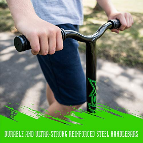 Xootz Kids Y Bar Complete Stunt Scooter, Trick 360 Scooter with ABEC 7 Bearings, Green