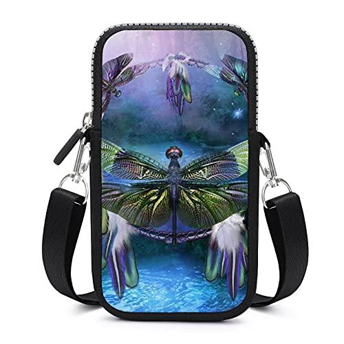 Bolso bandolera con correa de hombro extraíble, diseño de libélulas y libélulas a prueba de sudor para llaves, brazalete para gimnasio, fitness y hombres