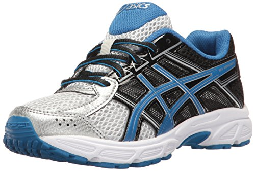 ASICS Boys' Gel-Contend 4 GS Running Shoe, Silver/Classic Blue/Black, 3.5 M US Big Kid