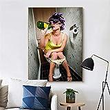 escuela de útiles escolares Halloween-Moda baño chica fumando beber arte de la pared lienzo pintura carteles nórdicos e impresiones baño bar decoración del baño cuadros de pared-Sin marco40X60cm