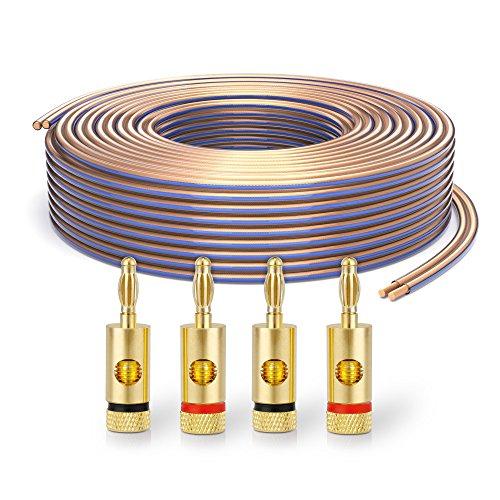 PureLink SP020-010 Cable de altavoz 2 x 4.0 mm² (99.9% OFC cable de cobre sólido 0.10mm) Cable de altavoz de alta fidelidad, 10m, transparente, Set incluye 4 tapones de banana
