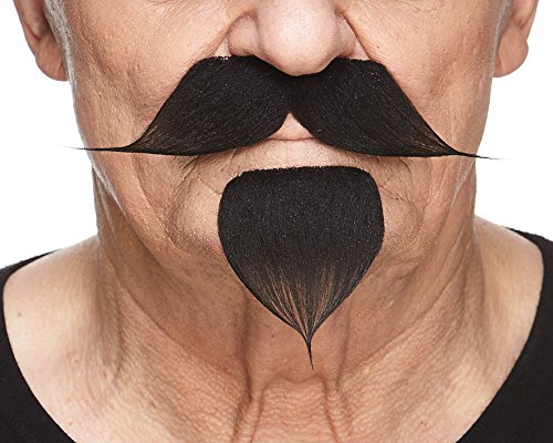 Mustaches Self Adhesive, Novelty, Fake Handlebar with a Goatee, Black Color