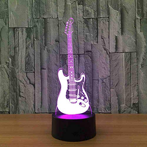 GZGNL Guitar 3D Night Light 7 Color Change Led Usb Remote Touch Switch Table Lamps Indoor Atmosphere Desk Lamp Toys And Gifts