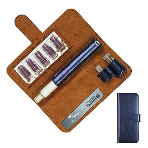 Design プルームテックプラス ケース PloomTECH ケース 電子タバコ ケース 収納 防水 大容量 スリム 収納 ケース 撥水性 衛生 電子タバコ 財布型 (ブルー)