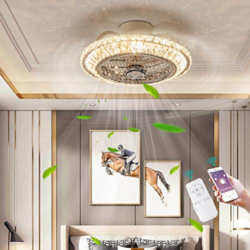 LED Techo Ventilador iluminación Regulable Moderno Redondo Cristal Ventilador silencioso Lámpara de techo Control remoto Aplicación Invisible Ventilador Lámpara para Cuarto Sala Comedor Ø50CM,A