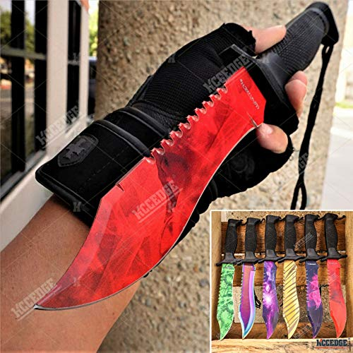KCCEDGE BEST CUTLERY SOURCE Tactical Knife Survival Knife Hunting Knife Fixed Blade Bowie Knife Razor Sharp Edge Camping Accessories Camping Gear Survival Kit Survival Gear Tactical Gear 54658 (Red)
