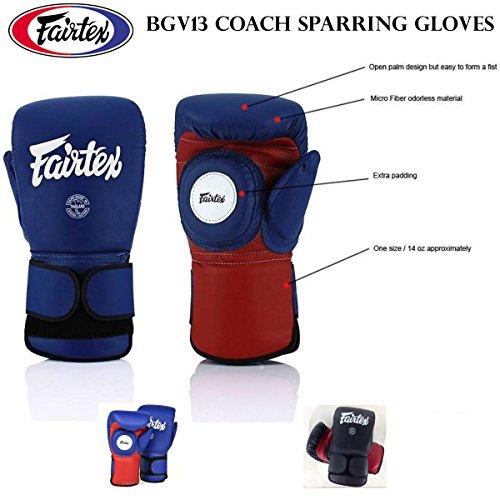 Fairtex bgv13azul/rojo color a combinación de guantes y manoplas de boxeo–talla única/14oz aproximadamente para Muay Thai Kick Boxing MMA Guantes