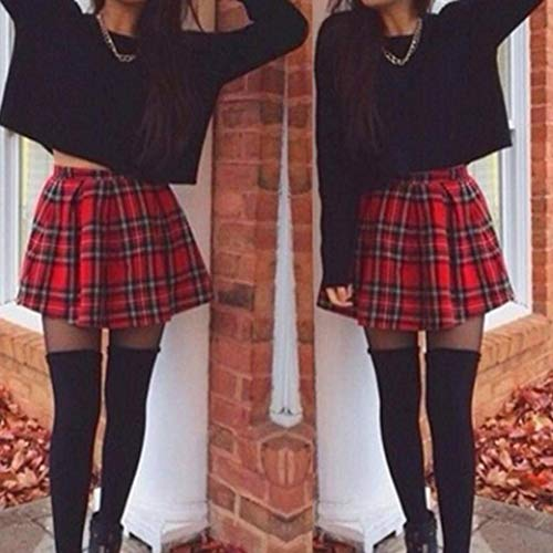 Faldas Para Mujer Falda De Tela Escocesa A Cuadros Roja Ropa Fiesta A Cuadros Escoceses De Chicas Faldas Uniformes De Mujer Largas Plisadas Evasees Corta Lápiz Impreso De Algodón Plisado Del