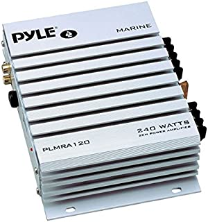 Pyle Hydra Marine Amplifier - Upgraded Elite Series 240 Watt 4 Channel Audio Amplifier - Waterproof, 4-8 Ohm Impendance, GAIN Level Controls, RCA Stereo Input & LED Indicator (PLMRA120)