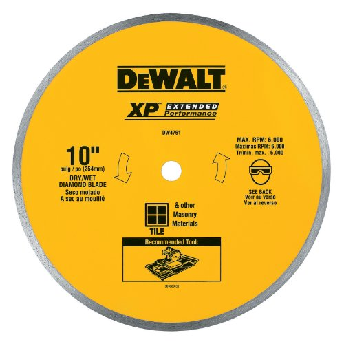 DEWALT Diamond Blade for Ceramic or Tile, Wet Cutting, Continuous Rim, 5/8-Inch Arbor, 10-Inch (DW4761),Yellow