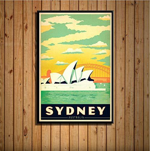 Fymm fotopapier New York Nederland Amsterdam London vintage reis stad landschap schilderij kunst zijde, wanddecoratie, 50 x 70 cm