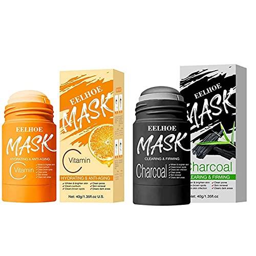 Mascarilla en barra de vitamina C,mascarilla de arcilla purificadora de carbón de bambú para la cara, limpieza profunda, control de aceite anti-acné, hidratante e hidratante, removedor de espinillas