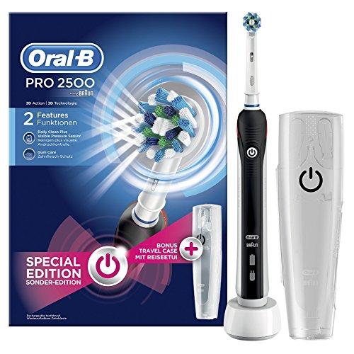 Oral-B PRO 2500 CrossAction- Cepillo eléctrico recargable, pack regalo edición negro