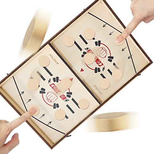 AOLUXLM Air Hockey Madera Hockey Mesa Juego,Pictionary Juegos De Madera,Padres contra Hijos Juego De Mesa