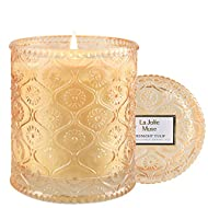 LA JOLIE MUSE Midnight Tulip Scented Candle, Natural Wax Candle for Home, 55 Hours Long Burning, Can...